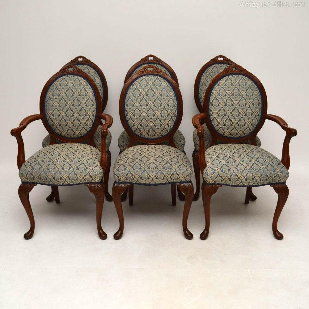 Set of Six Antique Walnut Dining Chairs ... - Set Of Six Antique Walnut Dining Chairs - Antiques Atlas