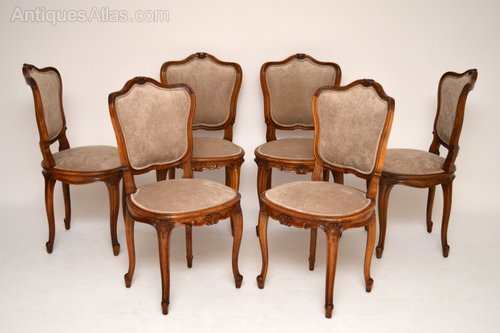 - Set Of Six French Antique Walnut Dining Chairs - Antiques Atlas