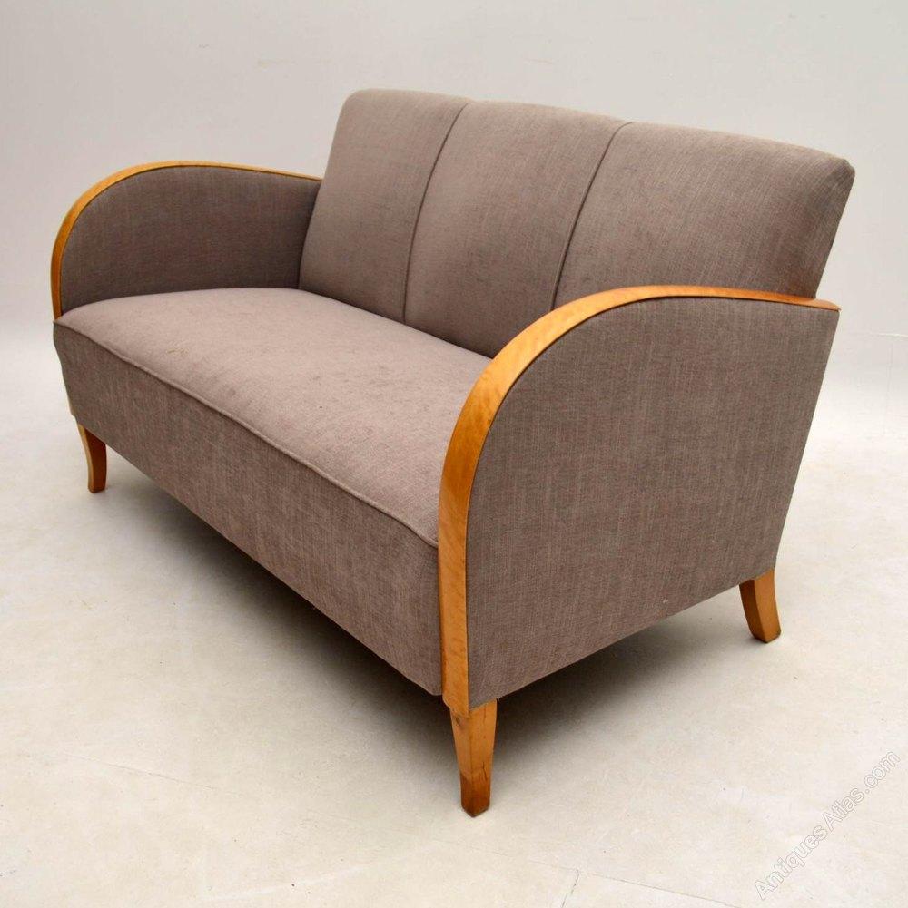 Swedish art deco satin birch upholstered sofa antiques atlas for Swedish sofa