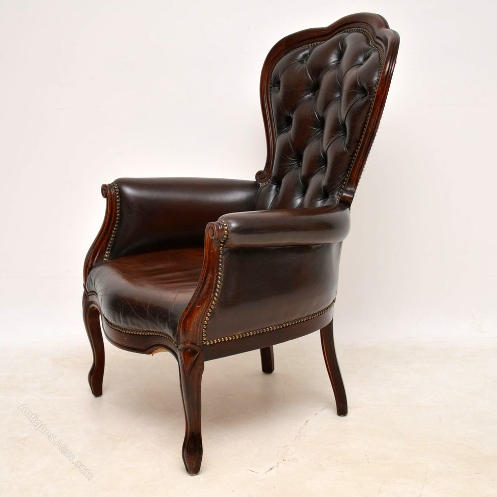 Victorian Style Leather Mahogany Armchair Chairs