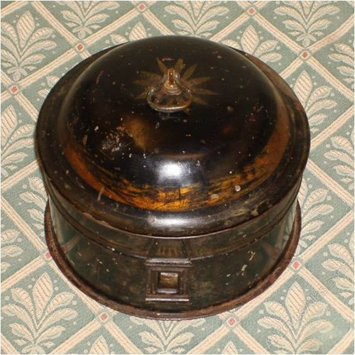 American 19th Century Japanned Tin Toleware Spice Box With Six Spice Boxes Home & Hearth