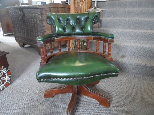 Swell Green Leather Swivel Captains Office Chair Machost Co Dining Chair Design Ideas Machostcouk