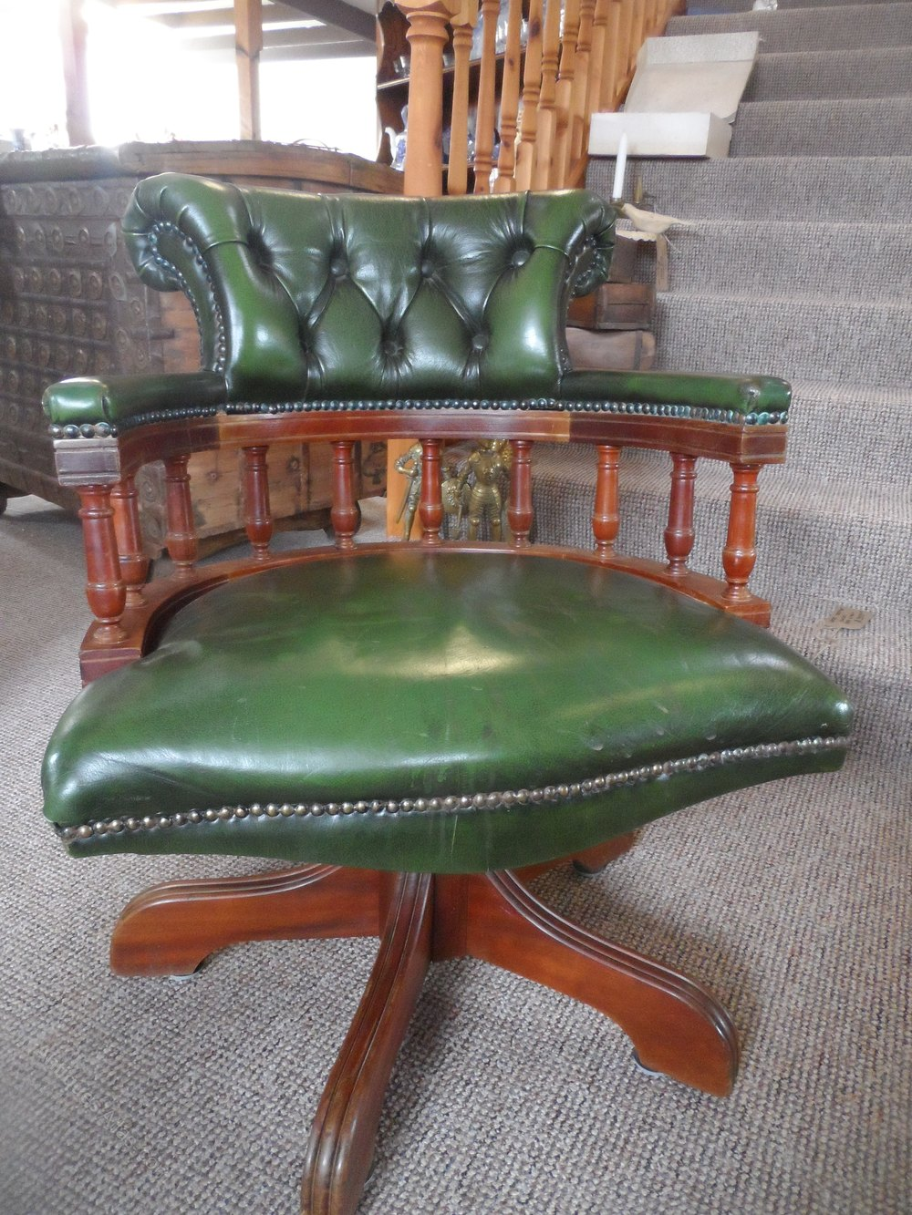 Green Leather Swivel Captains Office Chair
