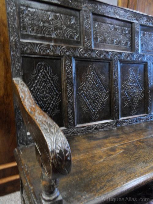 Jacobean revival carved oak settle bench antiques atlas