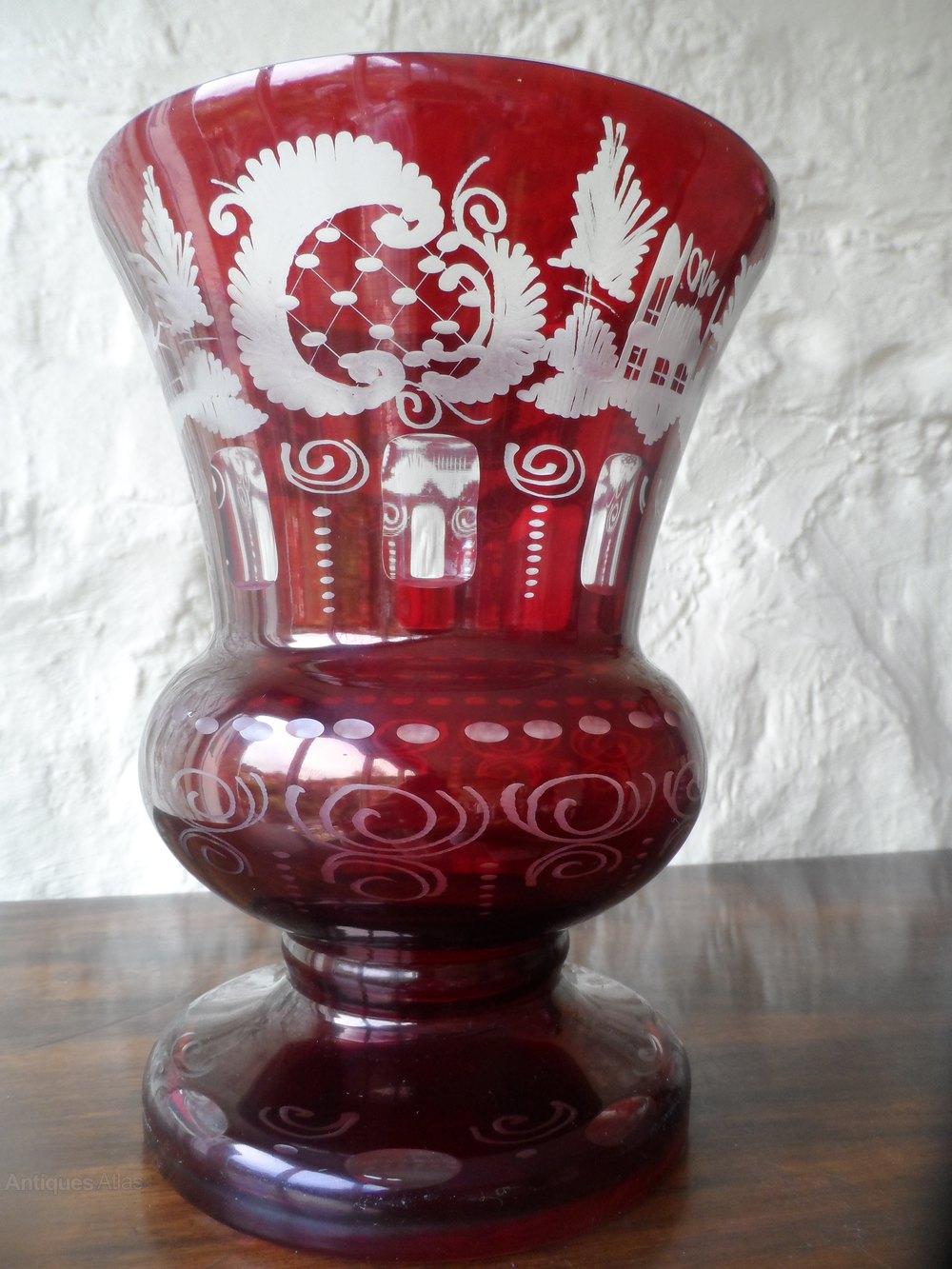Antiques atlas large bohemian ruby flash cut glass vase large bohemian ruby flash cut glass vase bohemian glass reviewsmspy