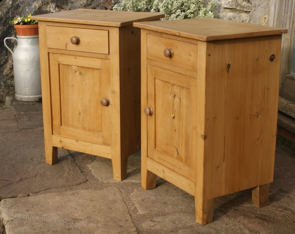 A Pretty Pair Of Dutsh Pine Bedside Cabinets Antique