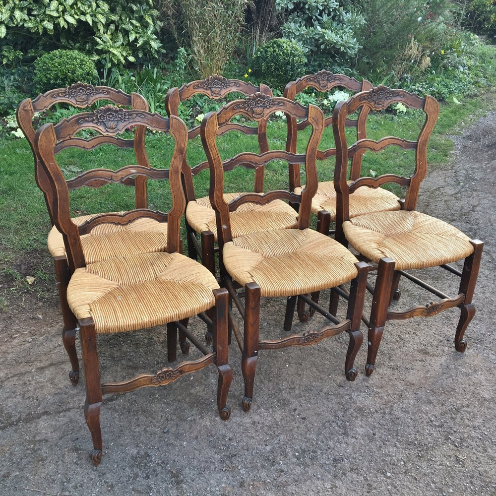 SET OF 6 FRENCH KITCHEN CHAIRS. C 1930