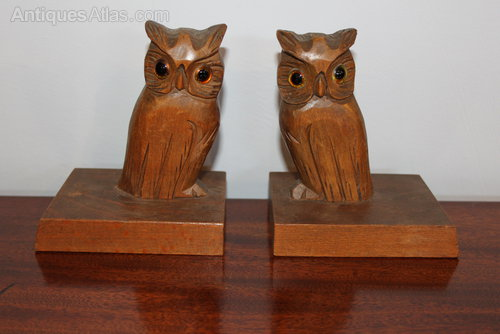 Pair Of Art Deco Wooden Bookends With Nut Birds Discounts Sale Antiques Periods & Styles