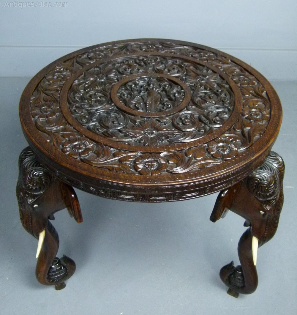 Indian Rosewood Carved Elephant S Head Table Antiques Atlas