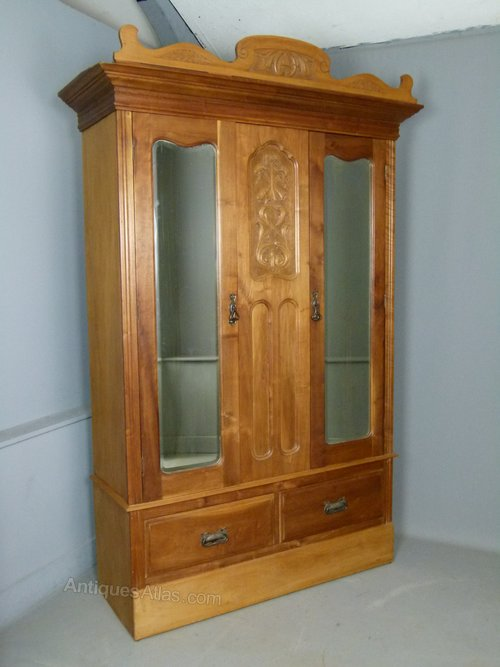 Furniture Antiques Antique Victorian Wardrobe Carved Satinwood Mirrored Armoire Art Nouveau