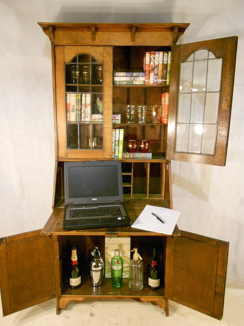Arts and crafts bureau -  Bureau Bookcases Antique Arts And Crafts Oak Arts Crafts