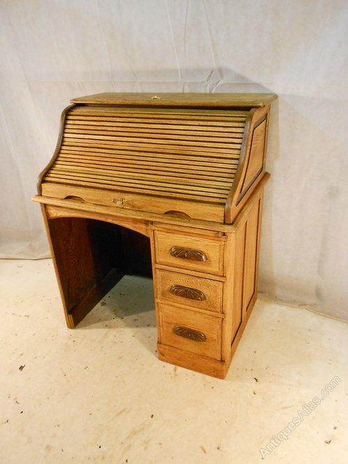 Antique Victorian Oak Roll Top Desk C1890 1910 Antiques