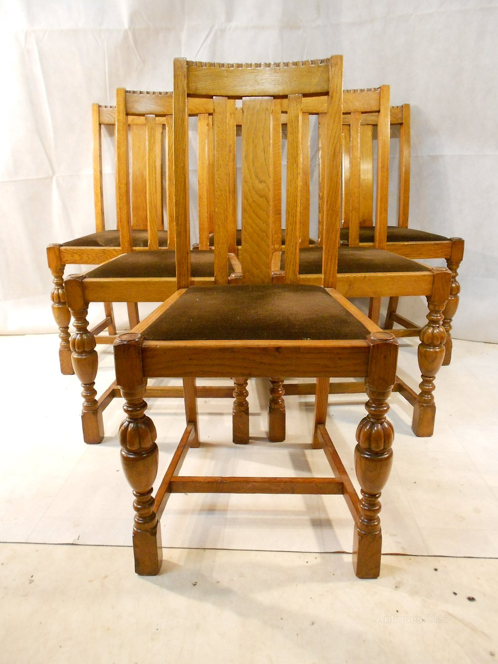 Rare E Gomme Oak Set Of 6 Dining Chairs C1939