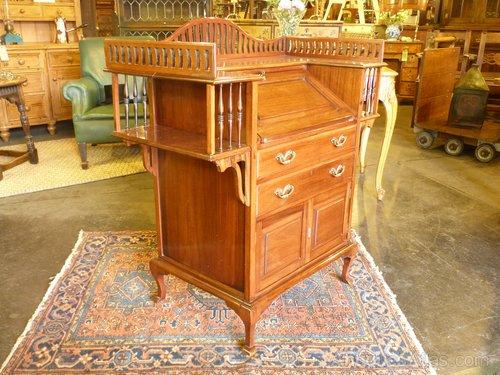 Unusual Art Nouveau Walnut Bureau. - Antiques Atlas