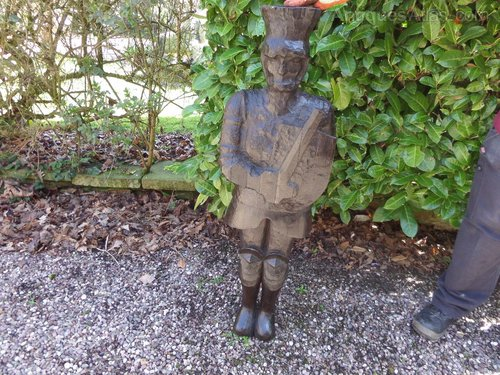 """Large wooden carving of soldier 44""""h c1880"""