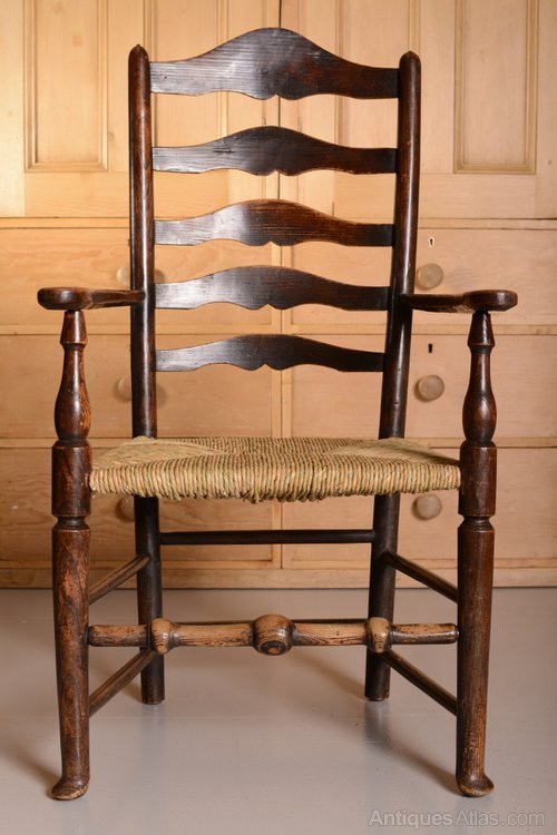 18th Century Antique Elm Ladderback Carver Chair Antique Ladder Back Chairs  ... - 18th - Antique Ladderback Chairs Antique Furniture