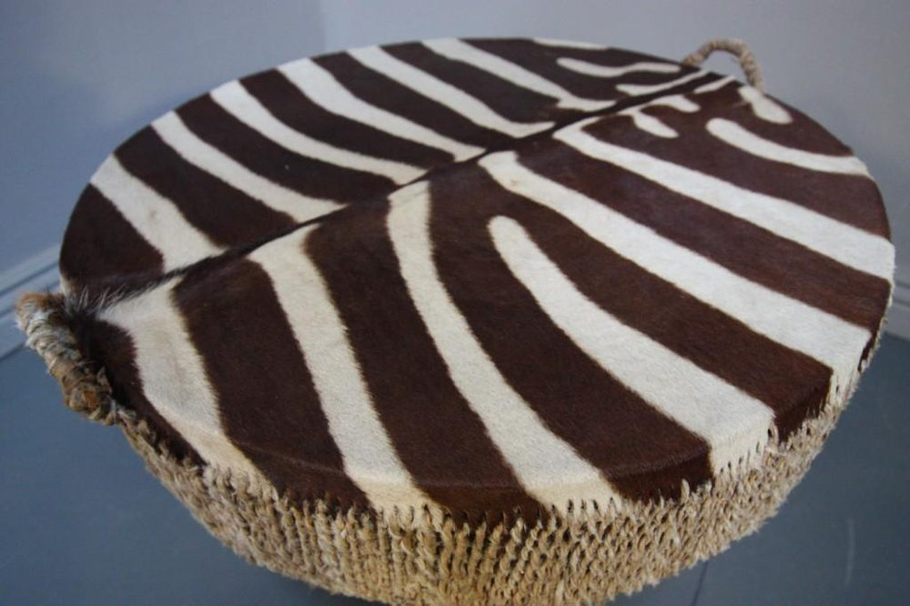 1940s Zebra Skin Drum Coffee Table