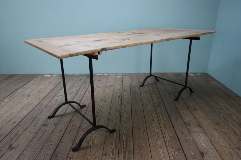 19th Century Antique Iron Trestle Dining Tables.