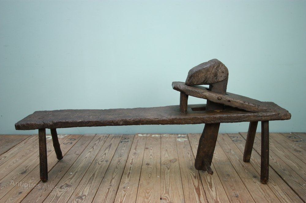 19th Century Antique Oak Shave Horse Work Bench