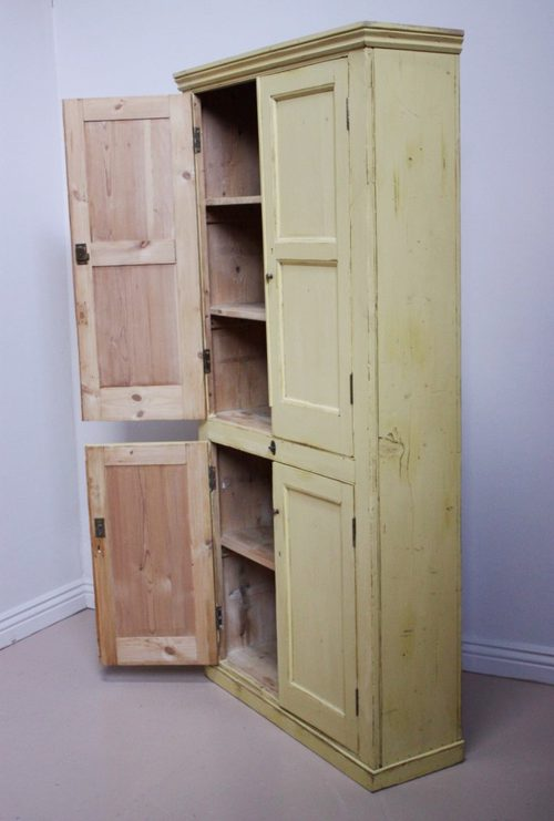 19th Century Antique Painted Pine Kitchen Cupboard Antique Kitchen Cupboards - 19th Century Antique Painted Pine Kitchen Cupboard - Antiques Atlas