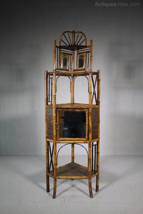 19th Century English Antique Bamboo Corner Cabinet