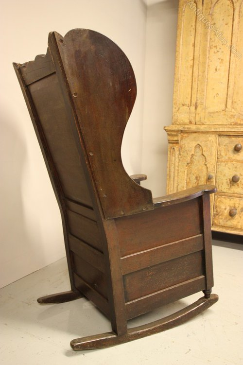 19th Century English Antique Oak Lambing Chair Antiques