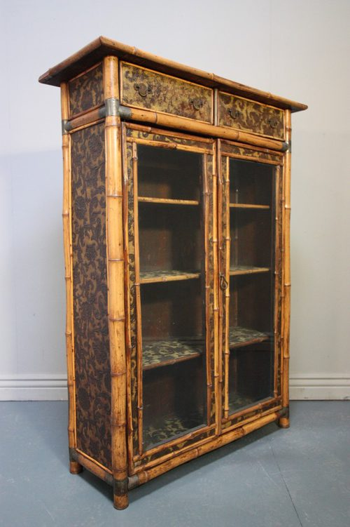 Antique Bamboo Glazed Bookcase
