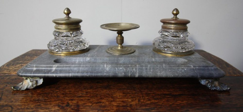 ... Antique Desk Sets ... - Antiques Atlas - Antique Gilt Bronze & Marble Desk Set