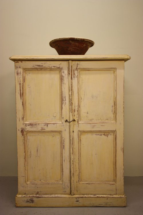 Antique Painted Pine Two Door Cupboard