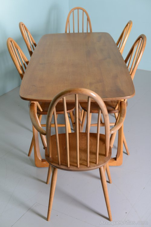Beautiful 1960s Elm Ercol Dining Table Chairs