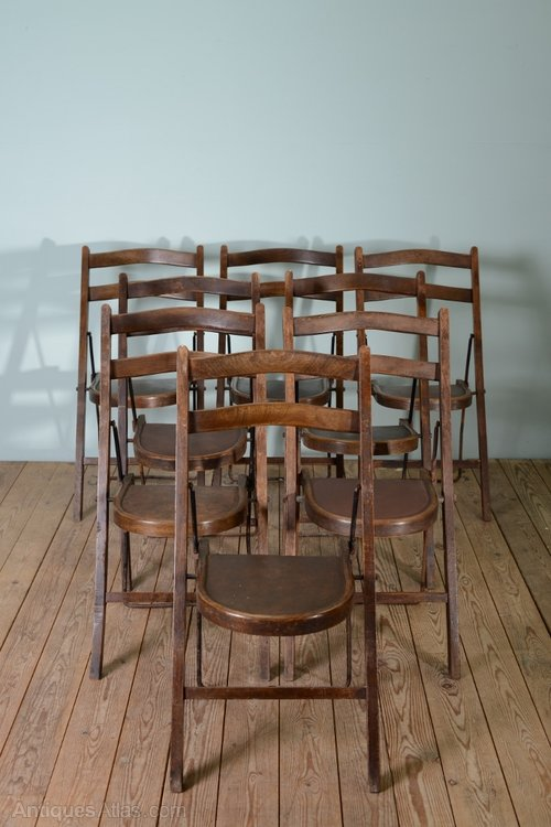 Exceptional Edwardian Antique Folding Chairs By Stakmore (7) ...