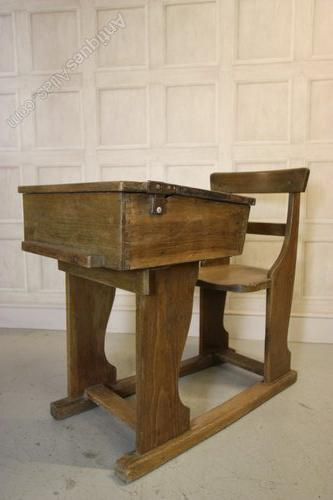 Edwardian Antique Oak Childs School Desk Chair