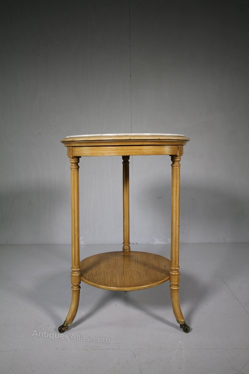 English 19th Century Antique Marble Top Side Table