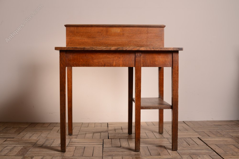 English Antique Oak College Study Tables (2).