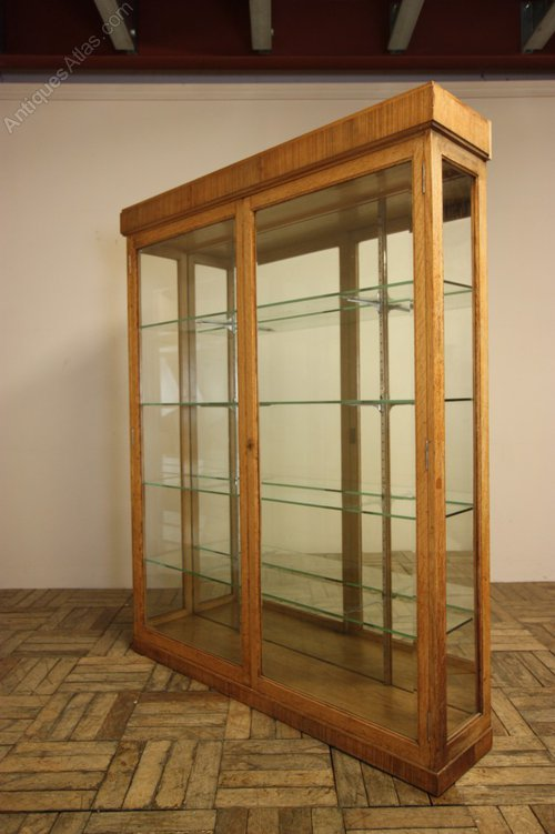 English Antique Oak Display Cabinet