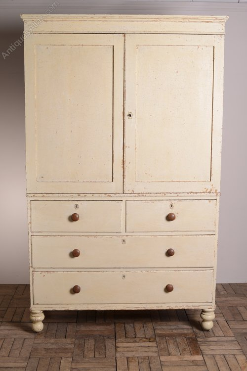English Antique Painted Pine Linen Press Cupboard