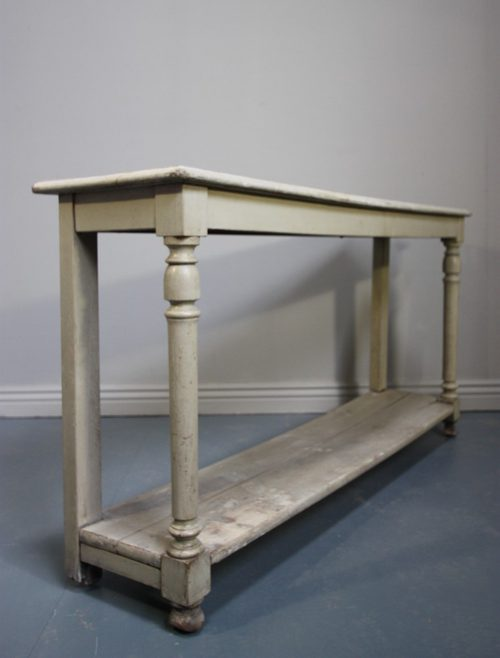French Antique Painted Oak Console Table
