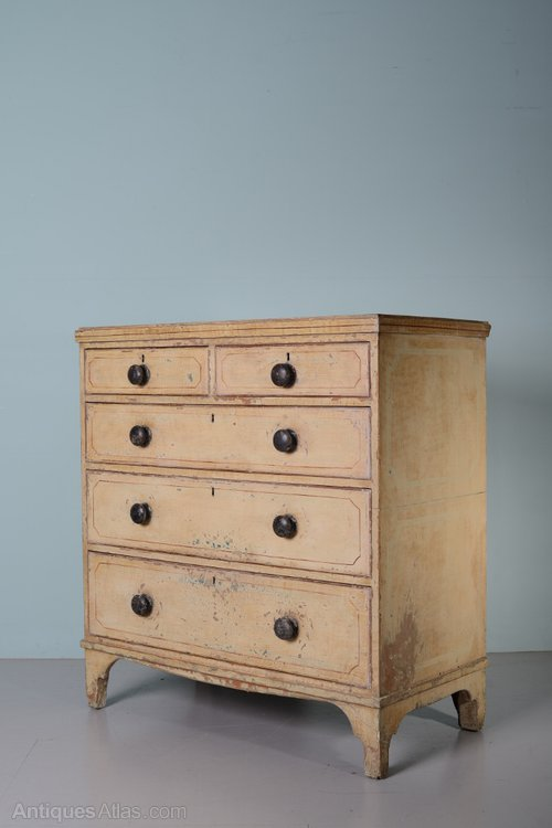 Georgian Antique Painted Pine Chest Of Drawers Antiques