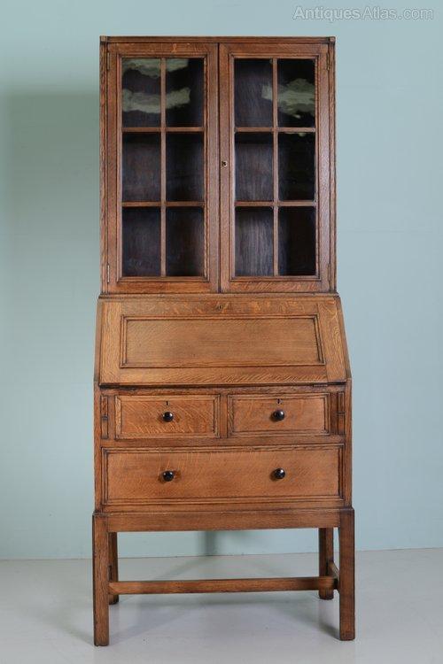 Heals 1930s oak bureau bookcase antique