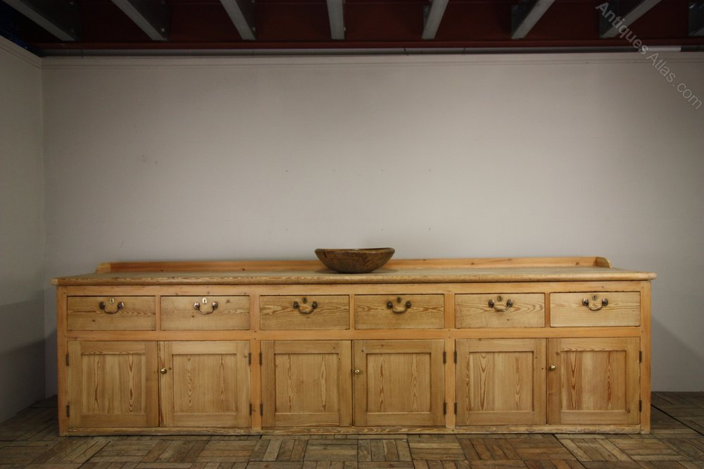 Huge Antique Country House Kitchen Dresser In Pine