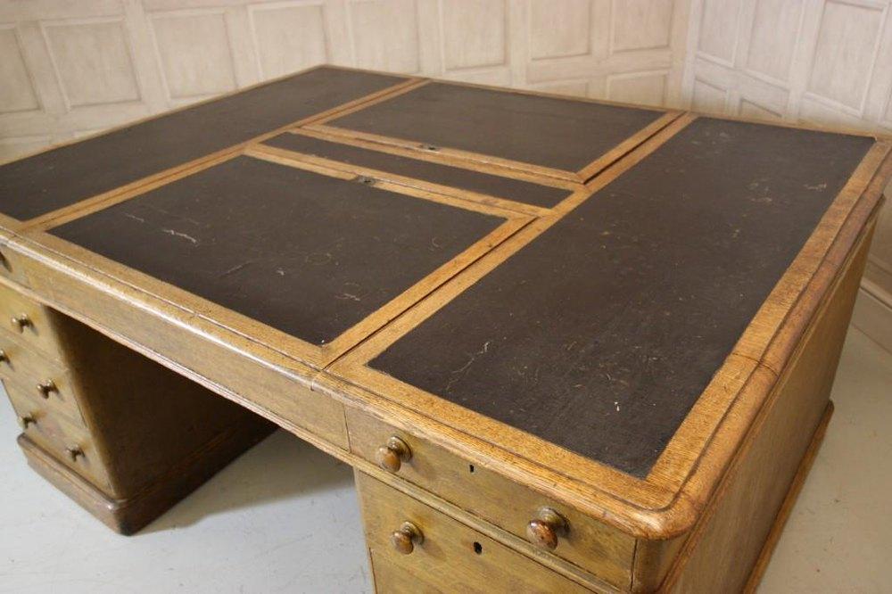 Photos Huge Antique Double Sided Partners Desk