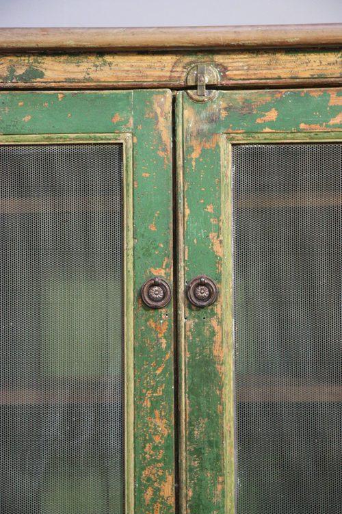 Original Antique Painted Pine Food Safe Cupboard
