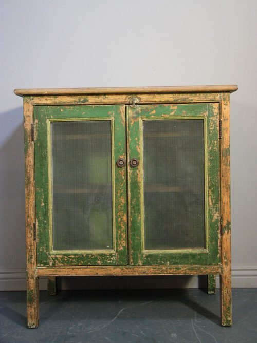 Original Antique Painted Pine Food Safe Cupboard.