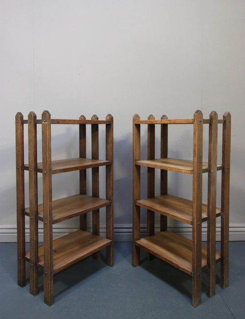 Pair Of Antique Slatted Bedside Tables/Bookcases - Antiques Atlas