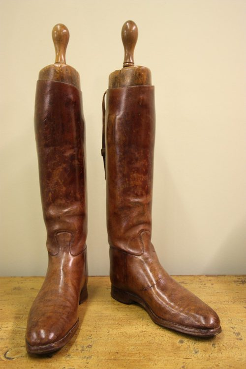 Pair Of Leather Antique Riding Boots