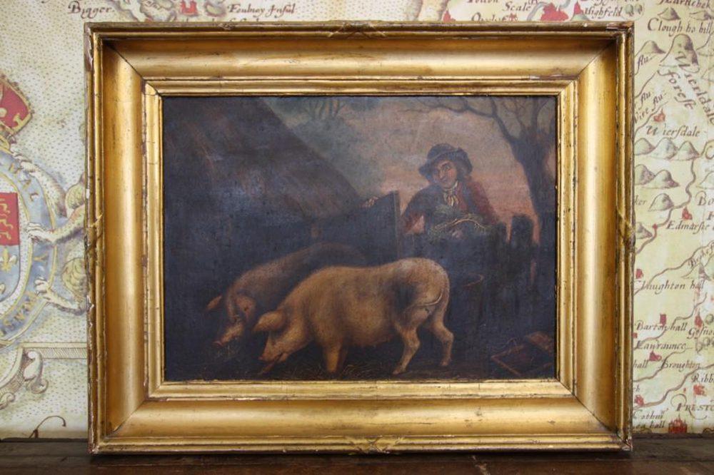 Antiques Atlas Primitive Antique Pig Oil Painting George