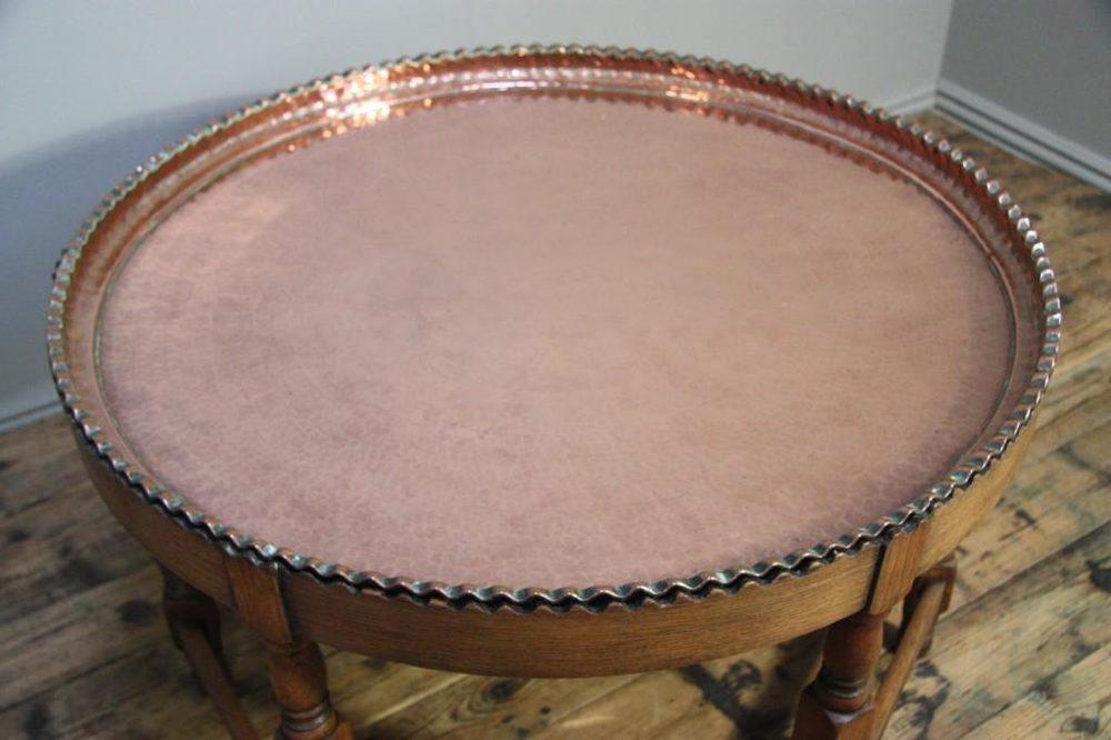 Quality Antique 1920 S Copper And Oak Coffee Table Antiques Atlas