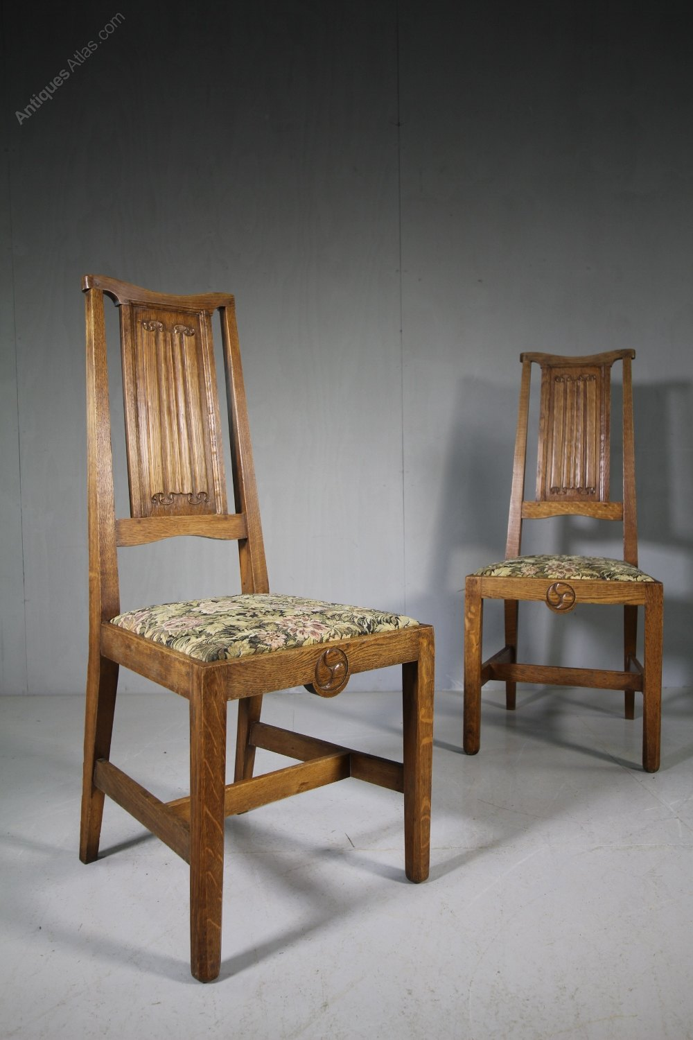 Antique Oak Chairs ~ Rare pair of antique oak chairs by w r lethaby antiques