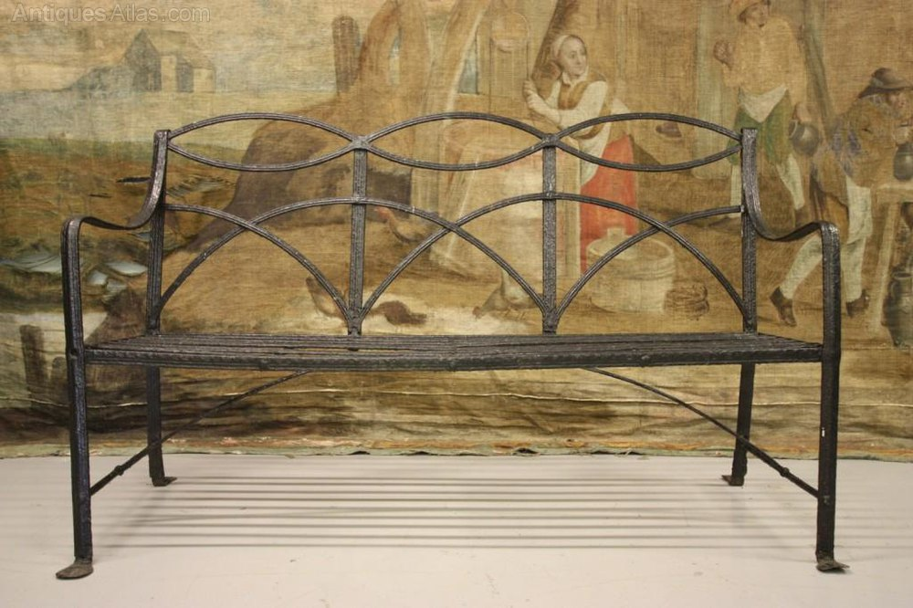 Regency Antique Wrought Iron Garden Bench Antique Garden Benches ...