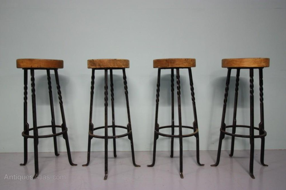 Superb Antiques Atlas Set Of Four 1940S Oak Steel Bar Stools Cjindustries Chair Design For Home Cjindustriesco